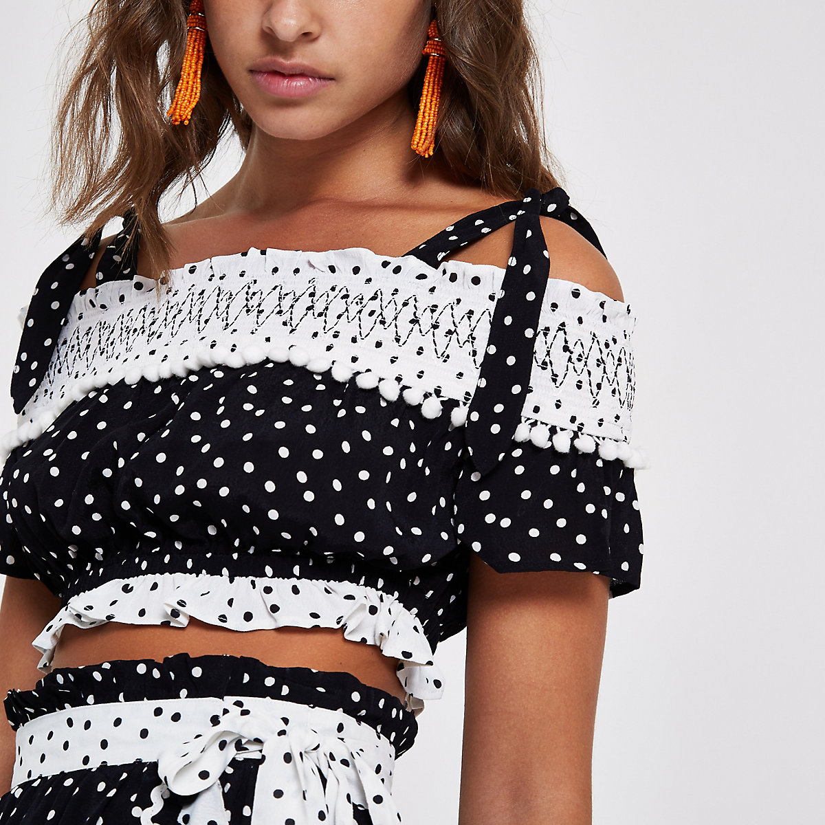 Black polka dot bardot beach crop top