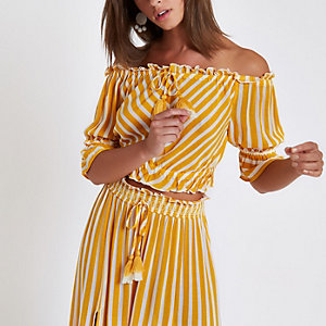 Yellow stripe bardot crop top