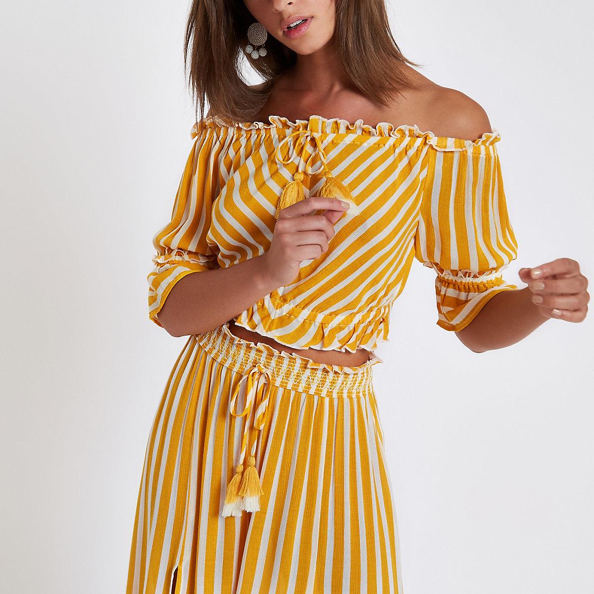 Yellow stripe bardot crop top