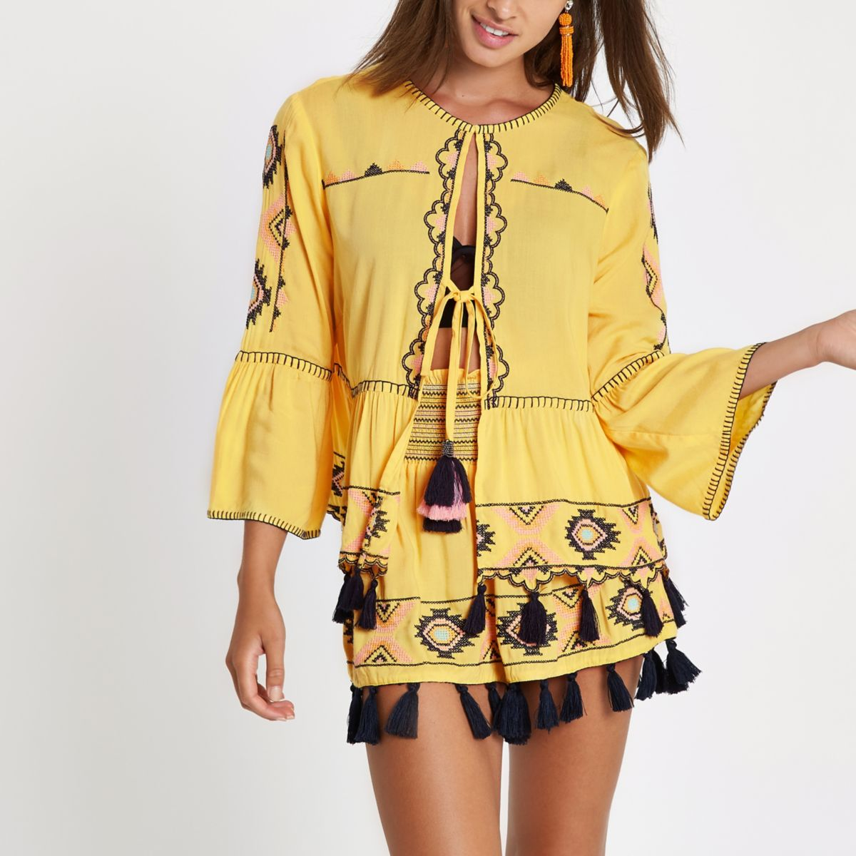 Yellow aztec embroidered beach kaftan