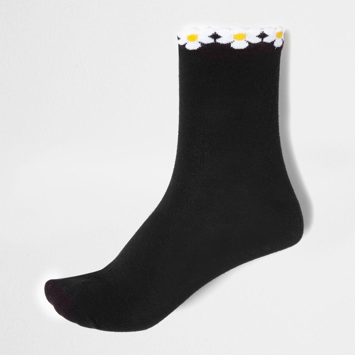 Schwarze Sneakersocken mit Blümchensaum