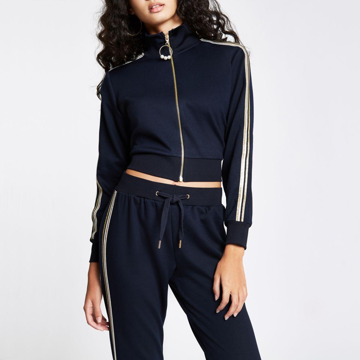 Navy gold tape side zip through jacket