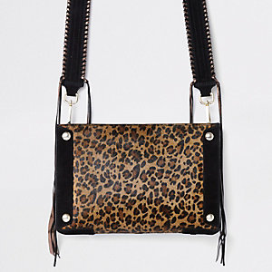 Beige leather leopard print cross body bag
