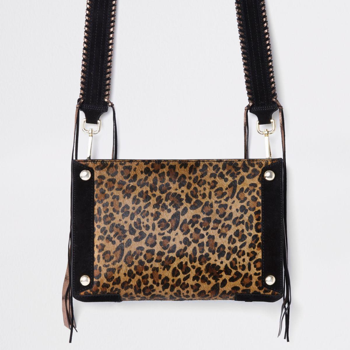 Beige leather leopard print cross body bag