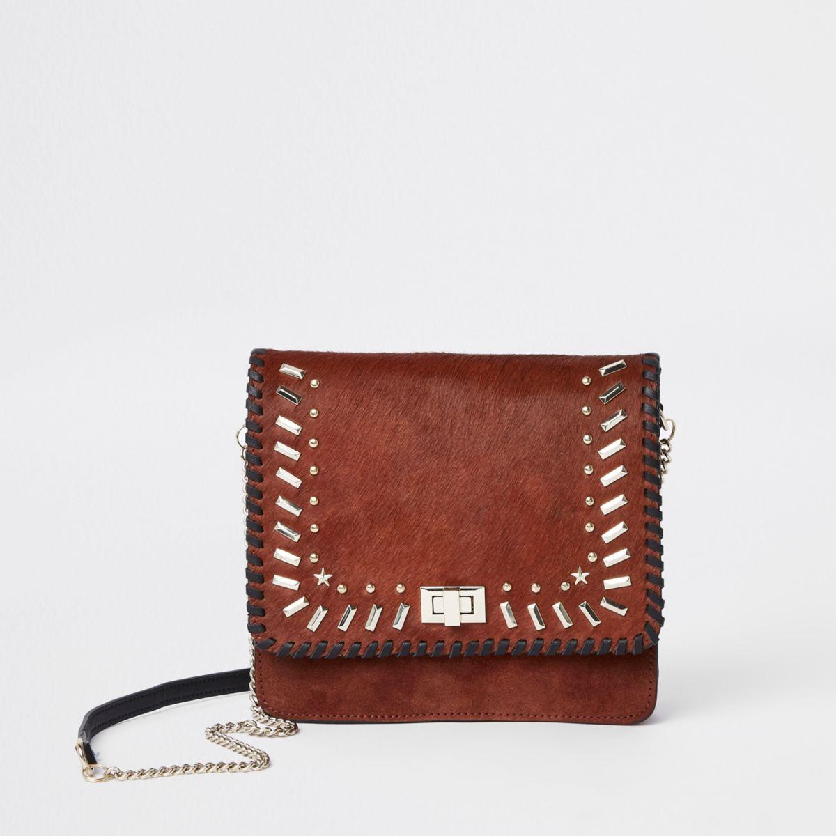 Dark red leather studded cross body bag