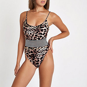 Brown leopard print elastic waist swimsuit
