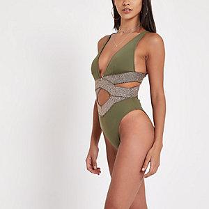 Metallic kaki elastisch zwempak met diep decolleté