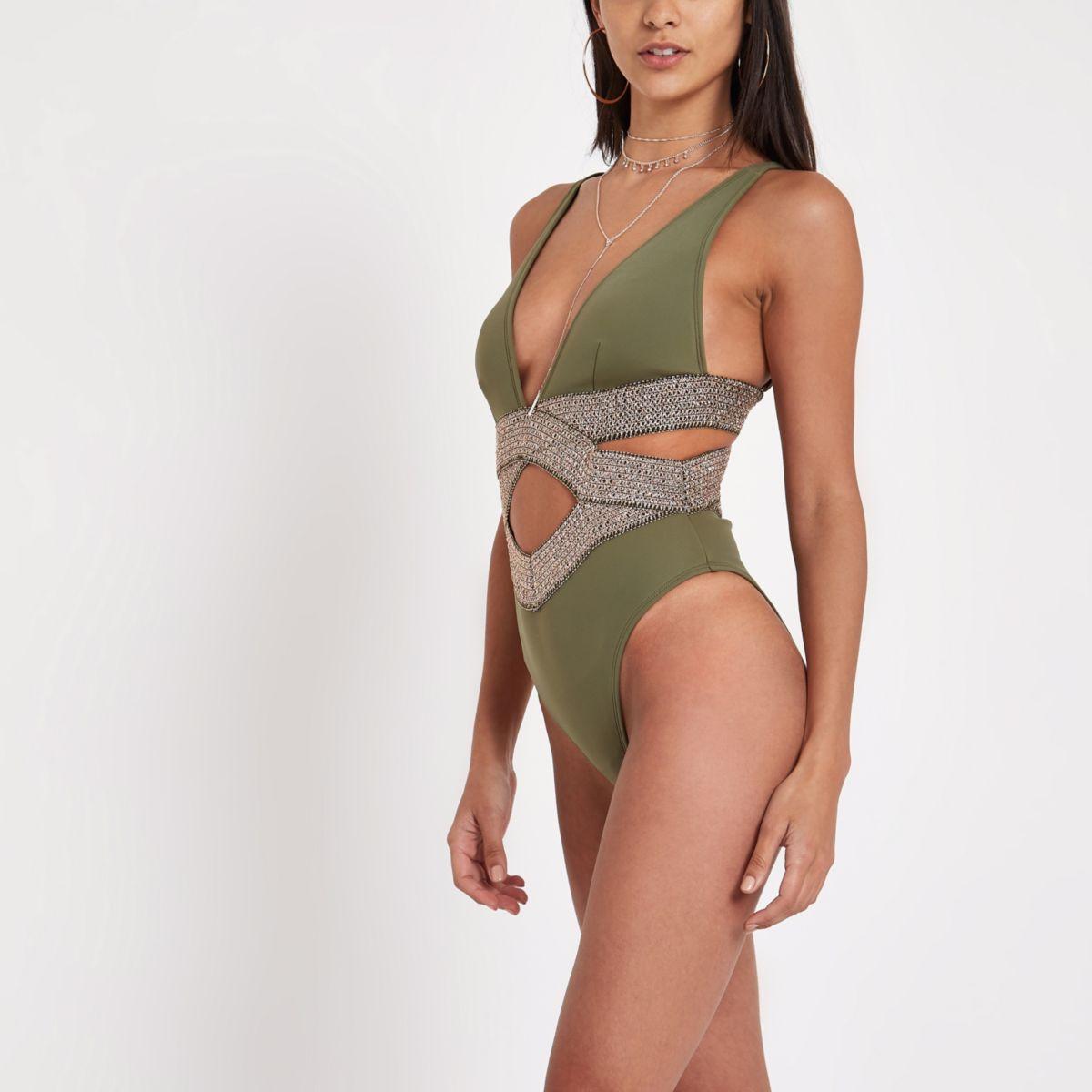 Khaki metallic elastic plunge swimsuit