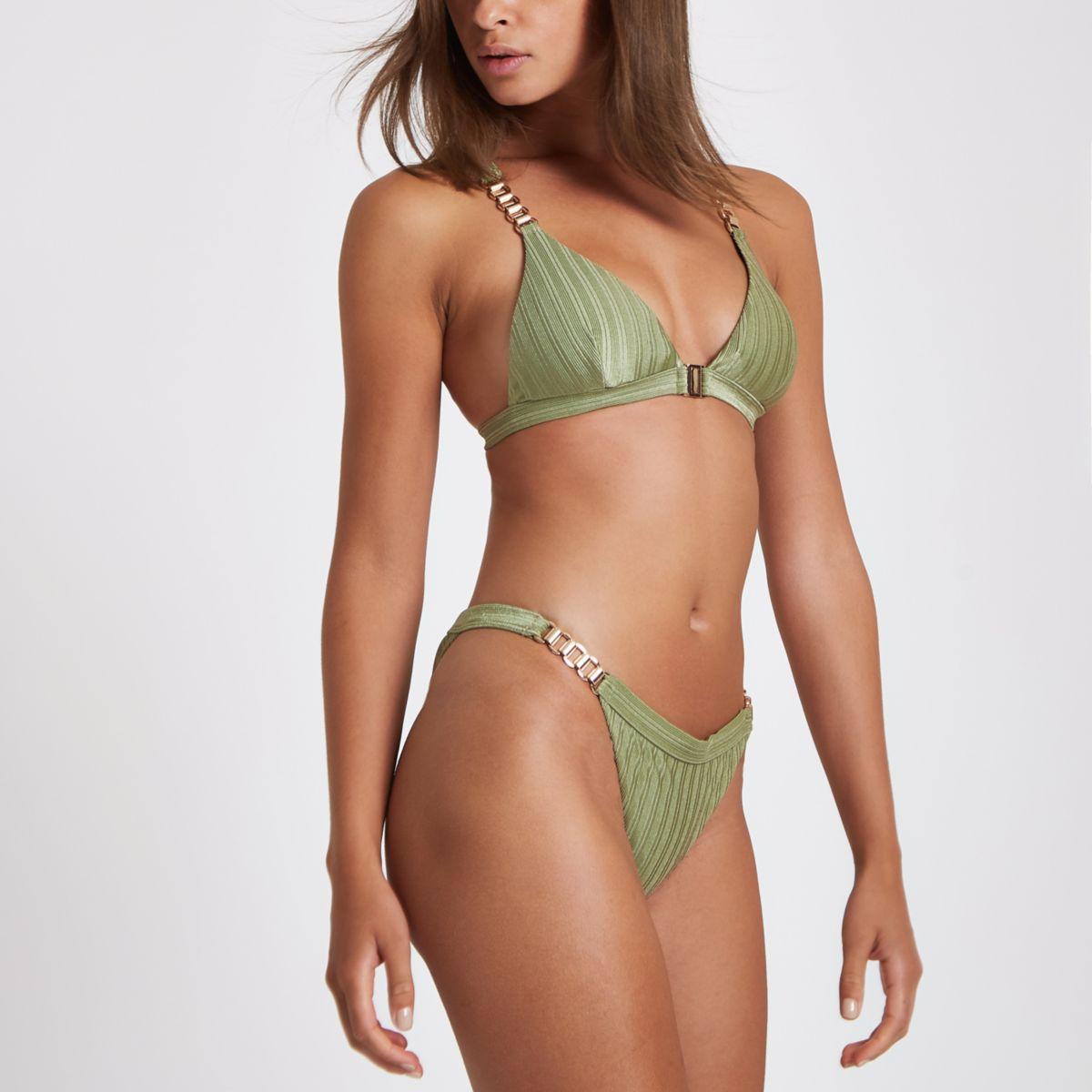 Khaki chain trim high leg bikini bottoms