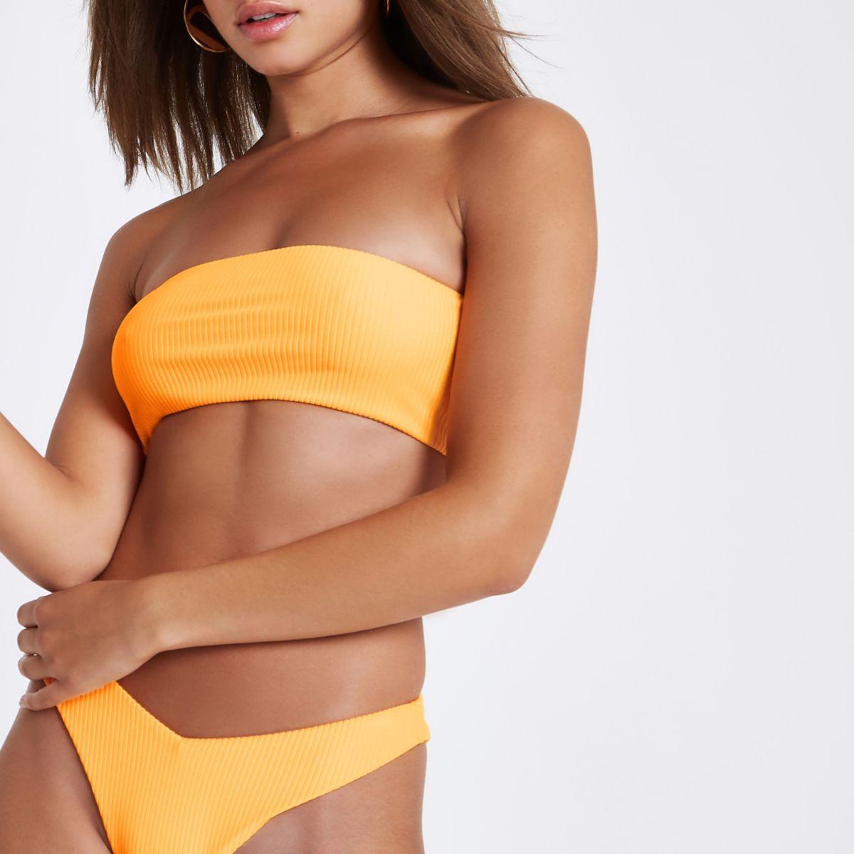 Orange ribbed bandeau bikini top