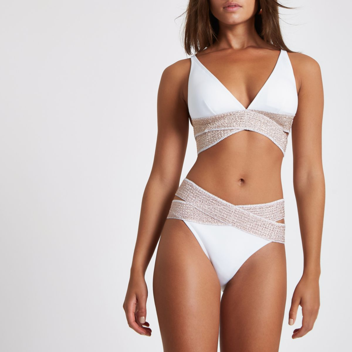 White Elastic High Leg Bikini Bottoms by River Island