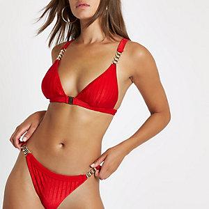Red chain triangle clip front bikini top