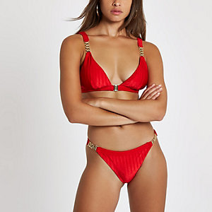 Red chain trim high leg bikini bottoms