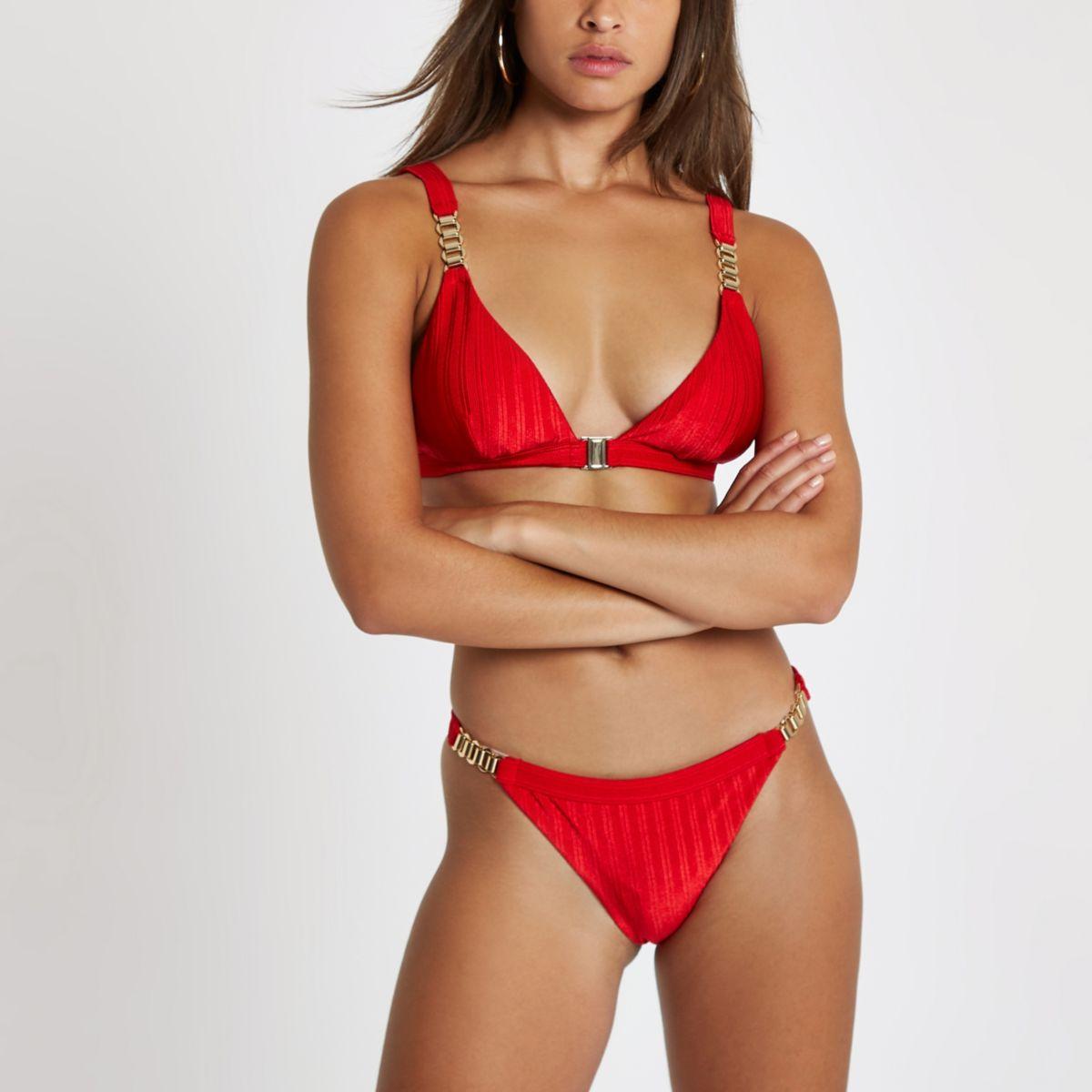Red chain trim high leg bikini bottoms