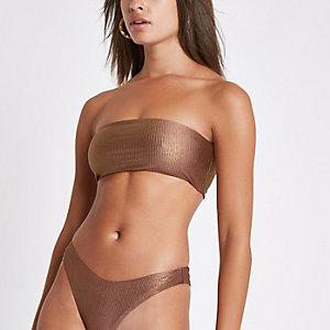 Haut de bikini bandeau côtelé bronze