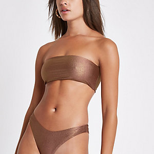 Bronskleurige geribbelde bandeau-bikinitop