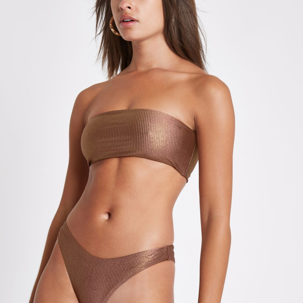 Bronze ribbed bandeau bikini top