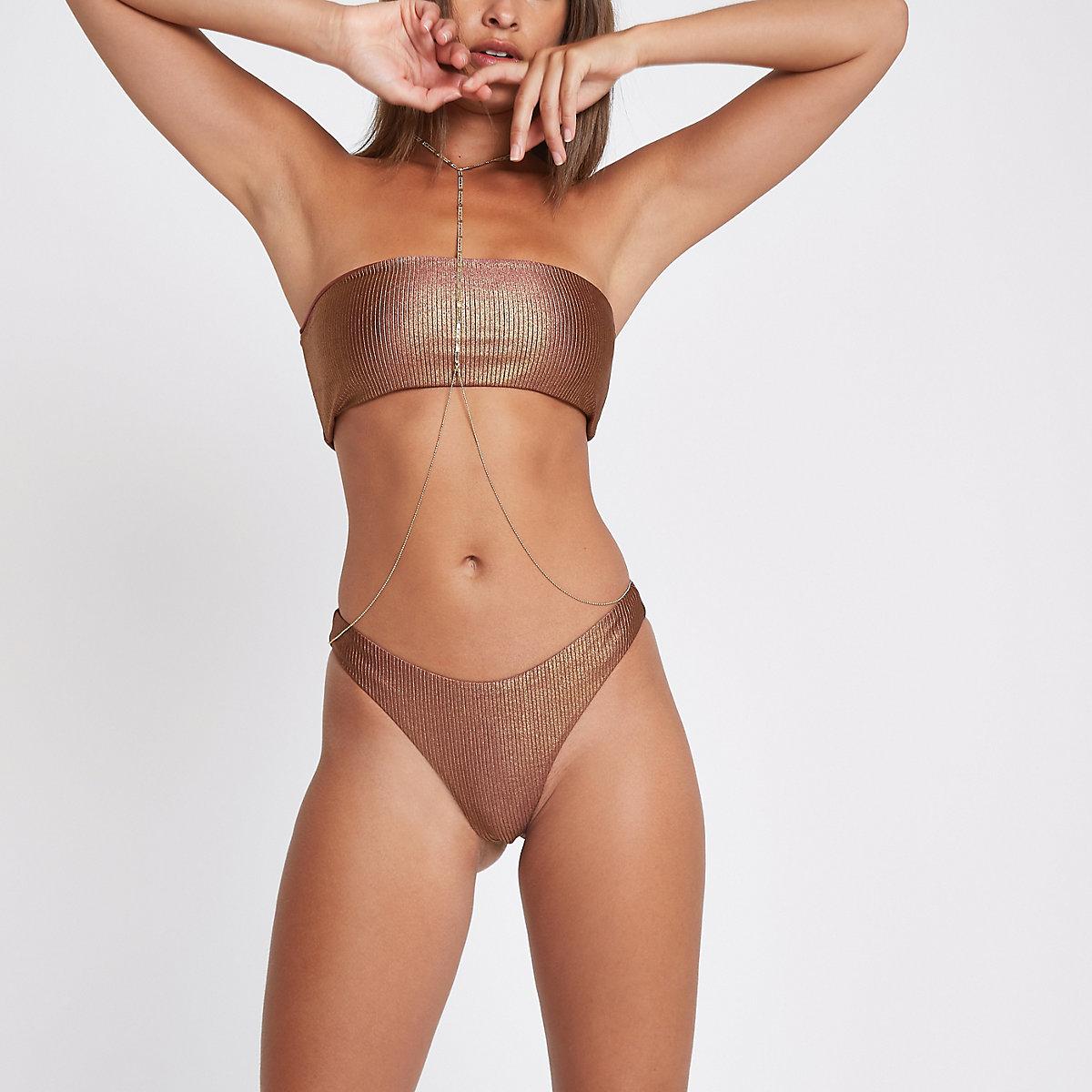 Bronze ribbed high leg bikini bottoms