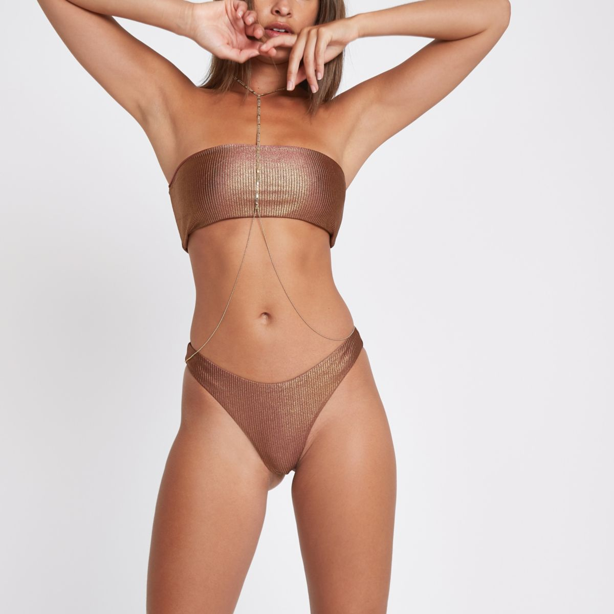 Bronze ribbed high leg bikini bottoms