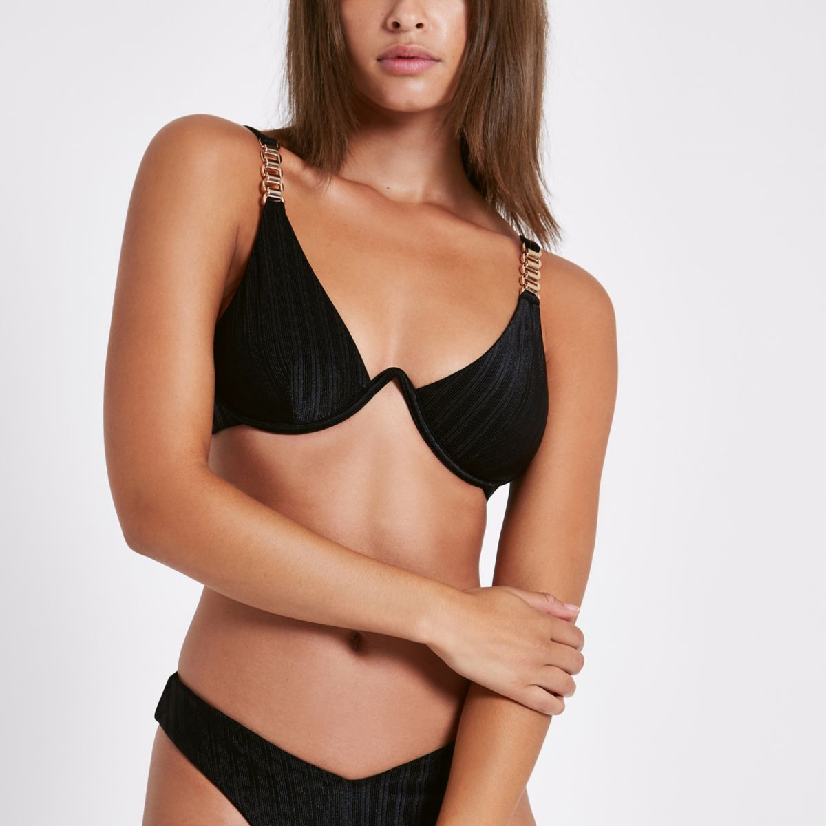 Black chain trim underwired bikini top