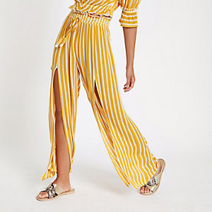 Yellow stripe split leg wide pants