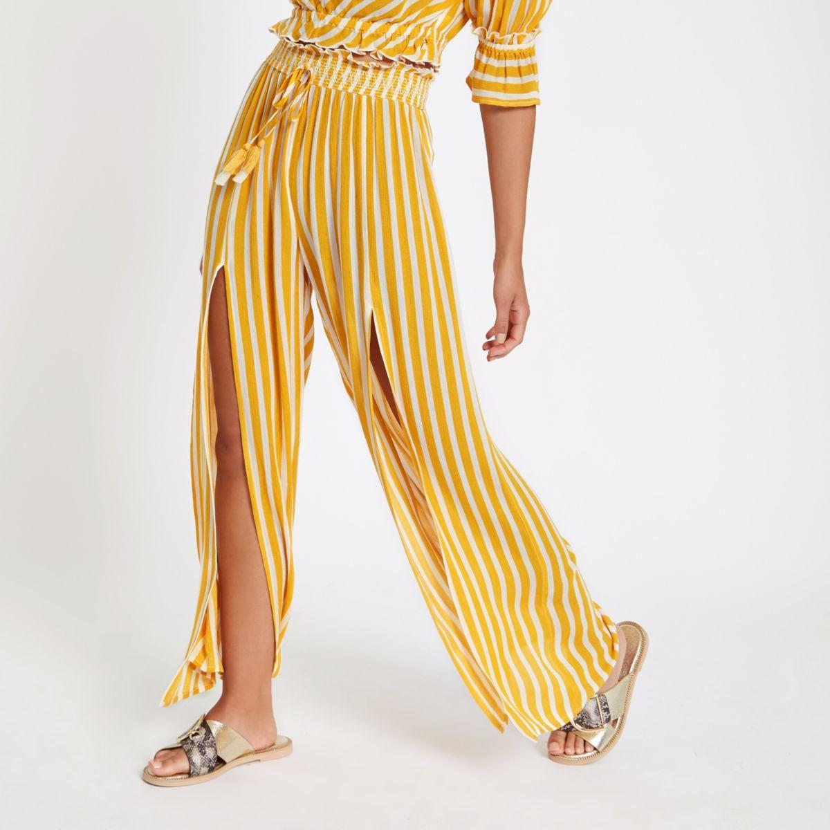 Yellow stripe split leg wide pants