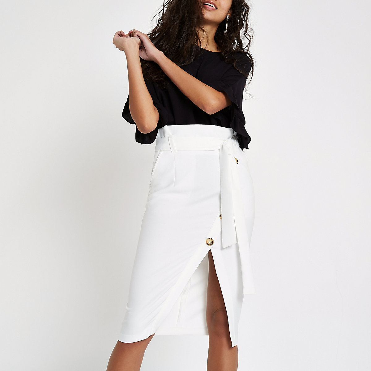 White paperbag button front pencil skirt
