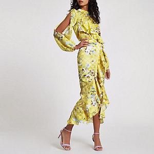 Jupe mi-longue portefeuille à fleurs jaune avec volants