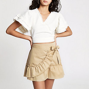 Beige poplin frill wrap mini skirt