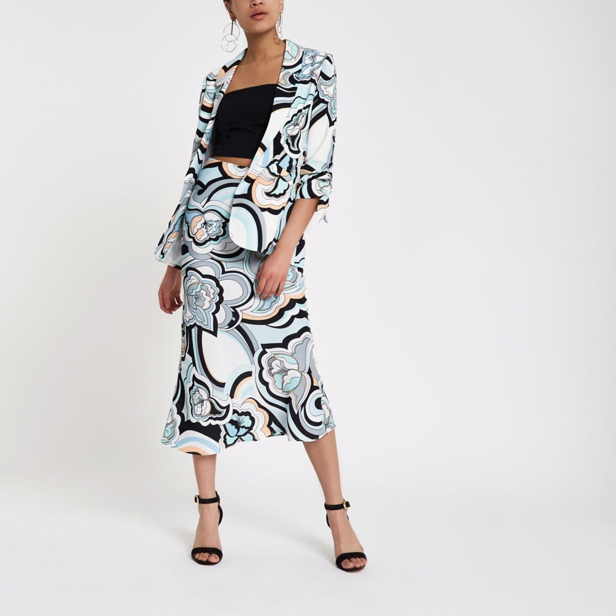 Blue swirl print maxi skirt