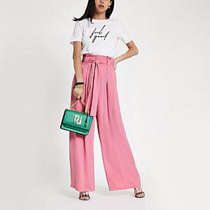 Pink tie waist wide leg trousers