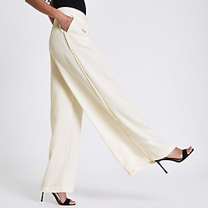 Cream stripe wide leg trousers