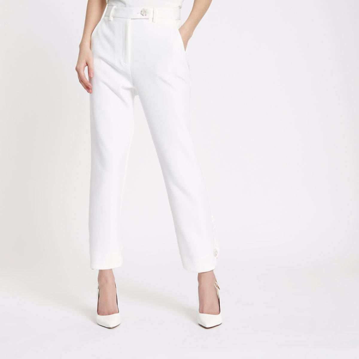 White faux pearl cigarette trousers