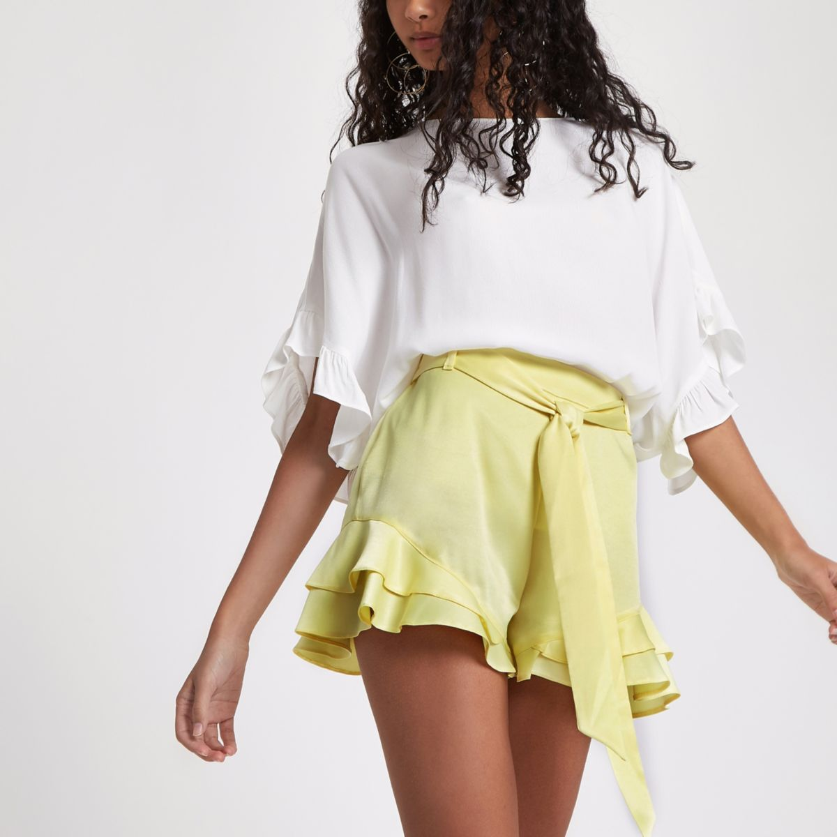 Yellow frill hem tie waist shorts