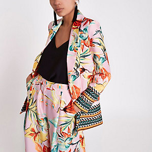 Pink floral mix print blazer