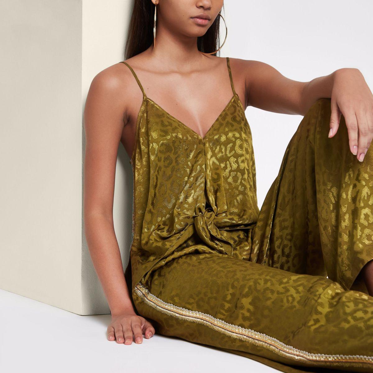 RI Studio khaki jacquard sequin side cami top