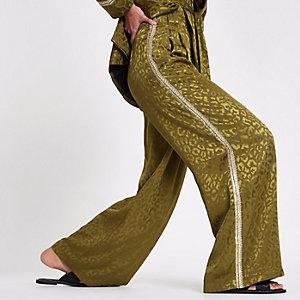 RI Studio - Kaki broek met streep van lovertjes opzij