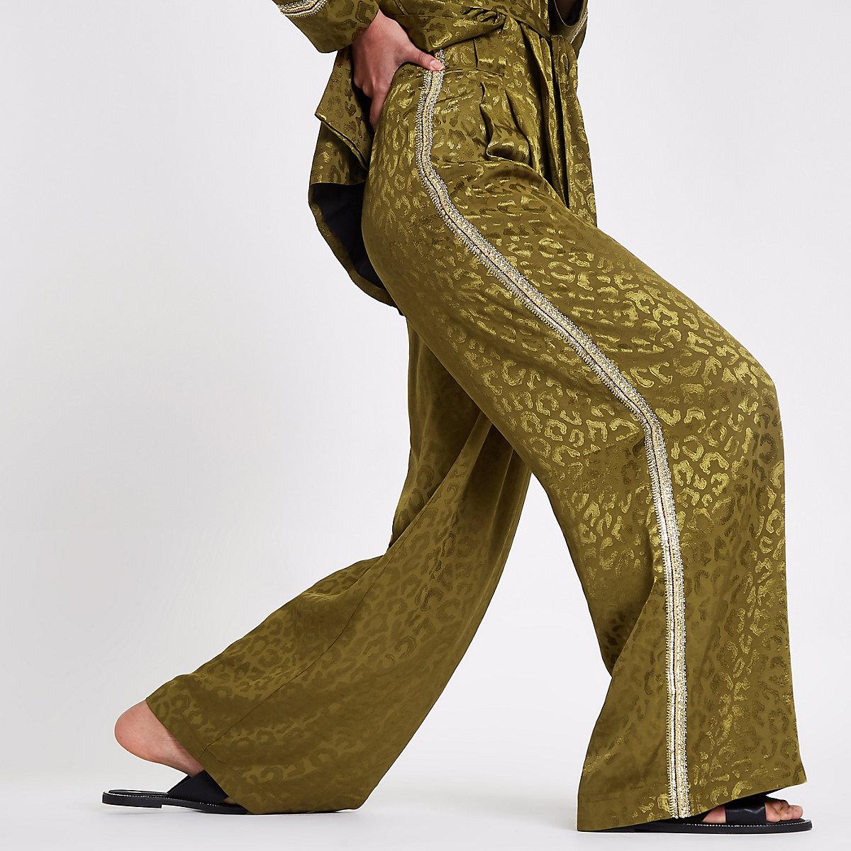 RI Studio khaki sequin side stripe trousers