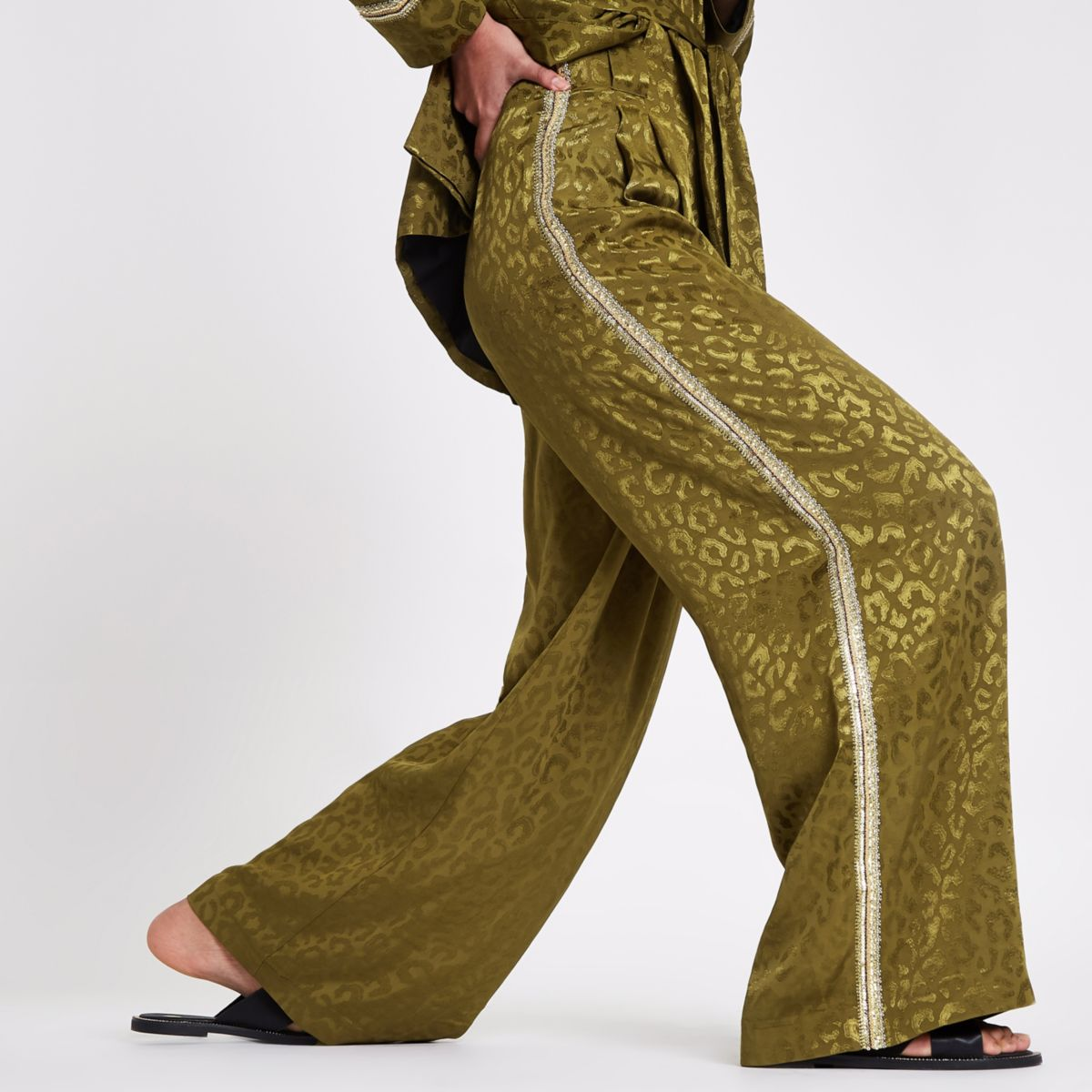 RI Studio khaki sequin side stripe trousers