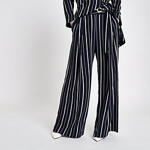 Navy stripe eyelet tie side wide leg pants