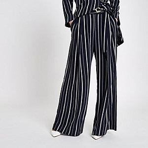 Pantalon large rayé bleu marine à œillet noué sur le côté