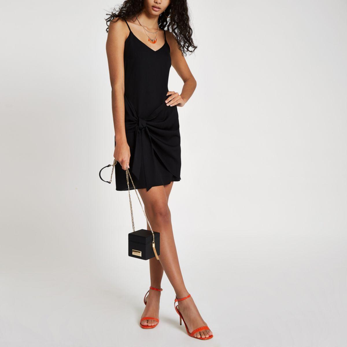 Black tie front cami slip dress