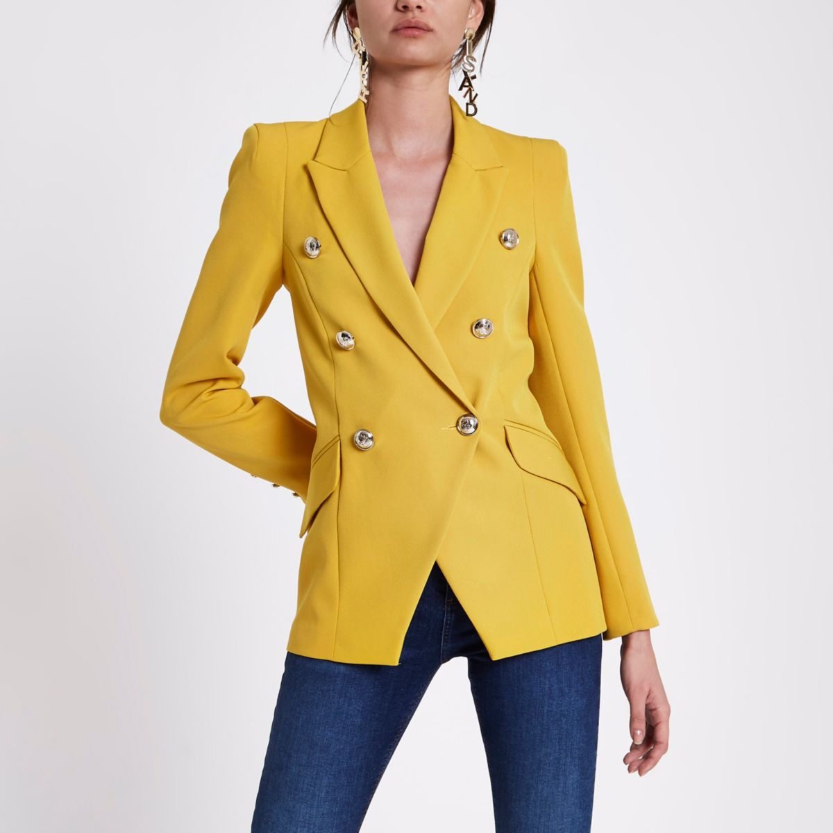 Yellow double breasted tux jacket