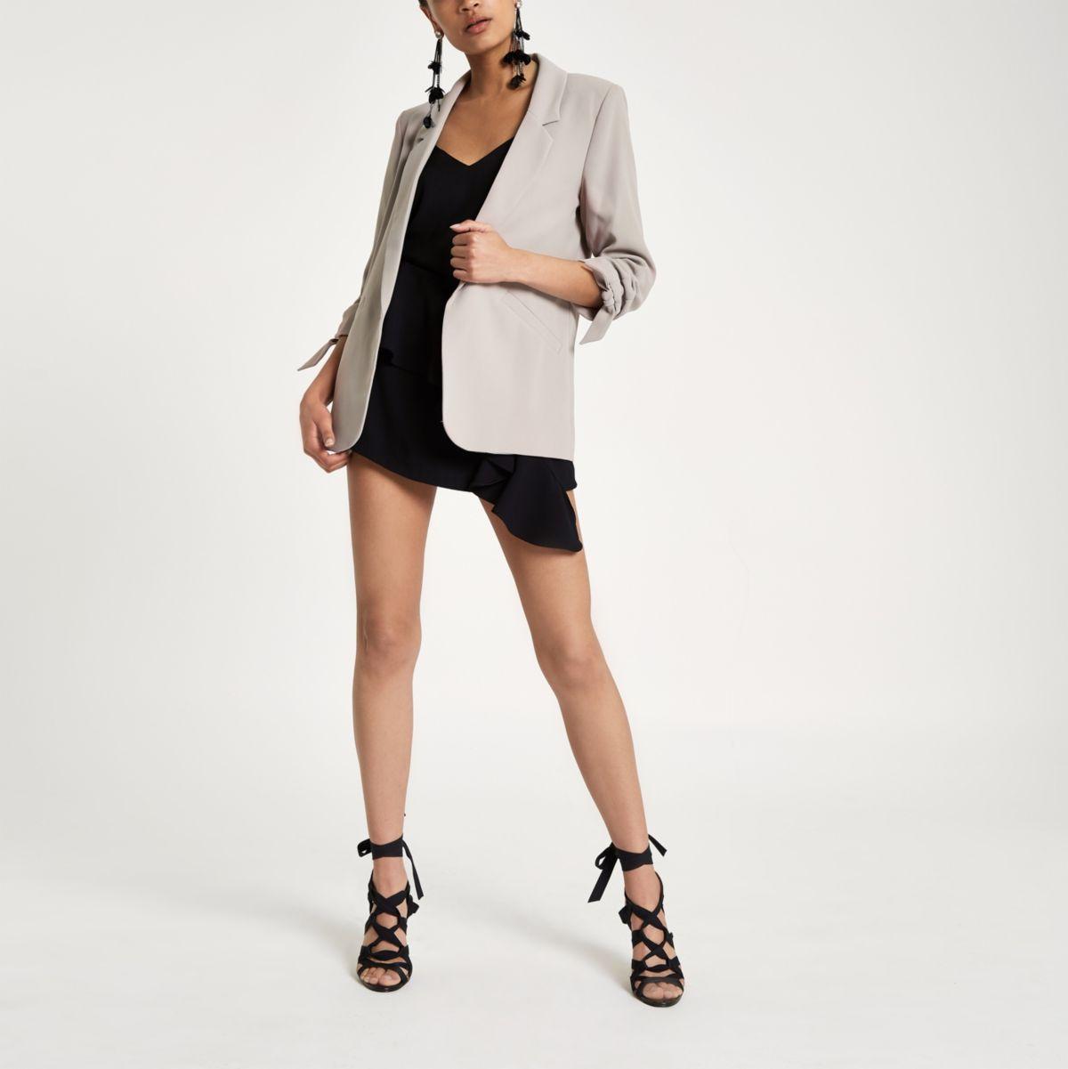Beige rouche sleeve open front blazer