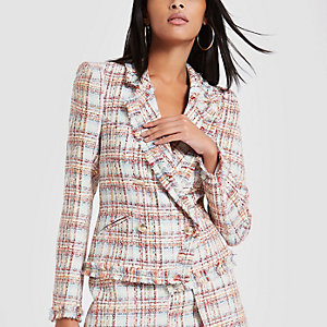 Light pink check print boucle jacket