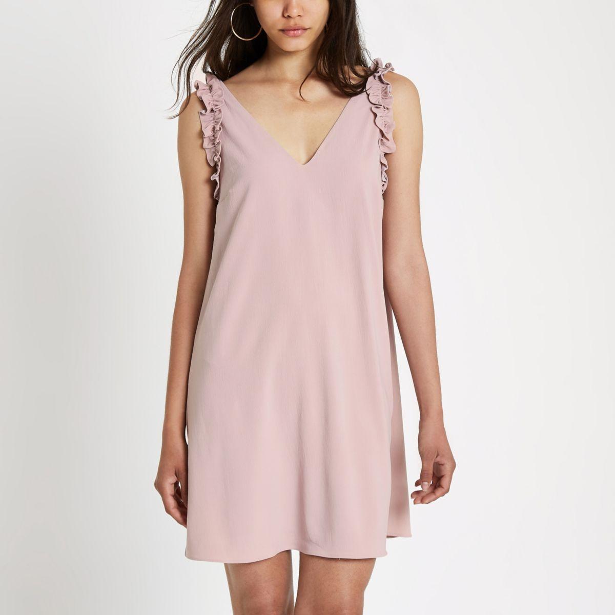 Pink ruffle sleeve slip dress
