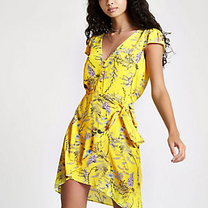 Yellow floral button front wrap mini dress