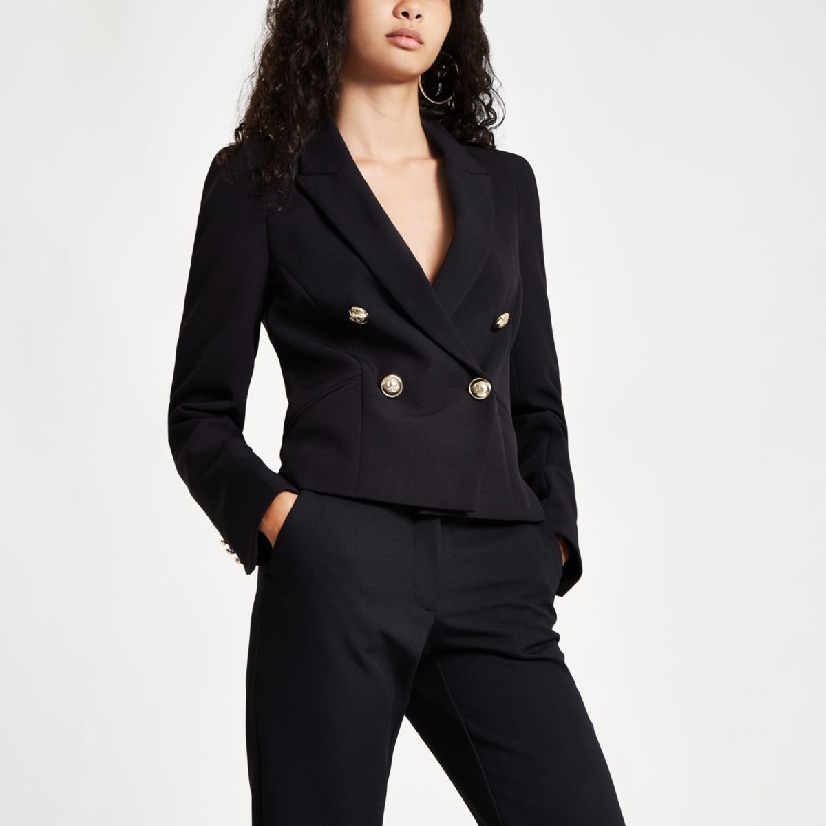 Black crop double breasted tux blazer