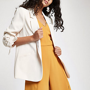 Cream rouche sleeve blazer