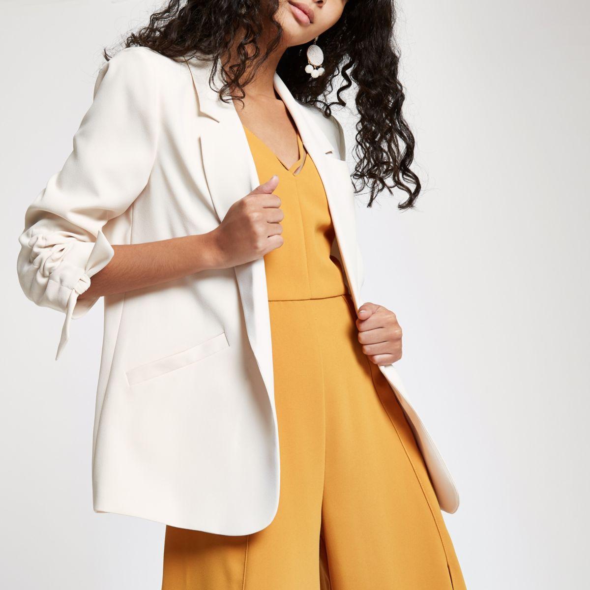 Cream rouche sleeve blazer